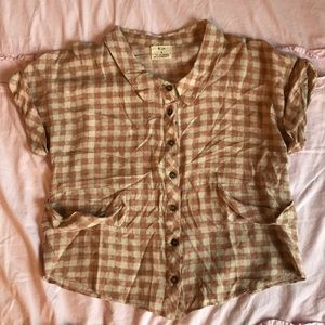 Pale pink and beige gingham crop top